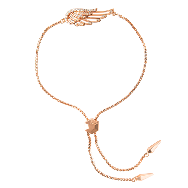 Rose Gold I am Protected CZ Wing Bolo Bracelet SKU BR1018