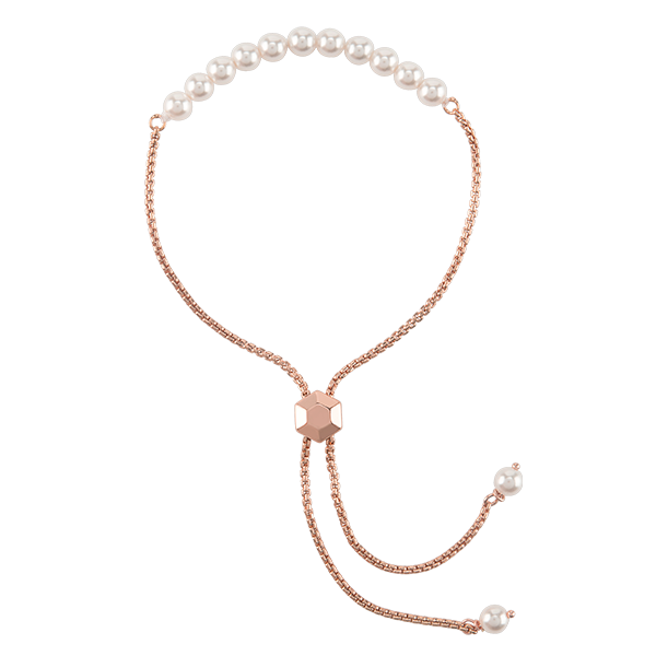 Rose Gold Pearl Strand Bolo Bracelet with Swarovski Pearls SKU BR3006