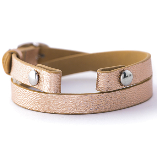 BR4003 Rose Gold Genuine Leather Wrap Bracelet 6   7 1 4  V2