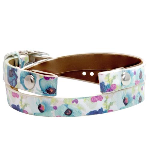 BR4024 Floral Genuine Leather Wrap Bracelet  6   7 1 4  V3