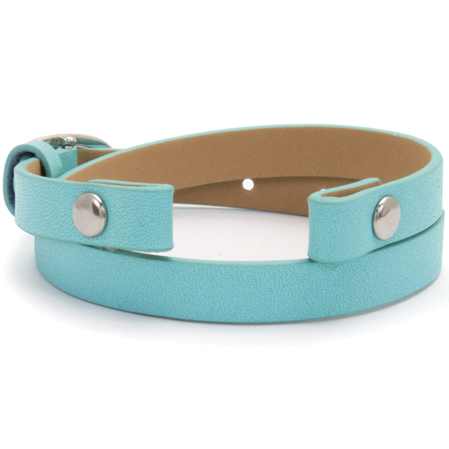 BR4029 Aqua Genuine Leather Aqua Wrap Bracelet  7 1 2   8 1 2  V2