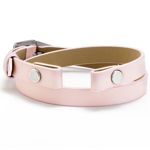 BR4047 Pastel Pink Genuine Leather Wrap Bracelet 7 1 2   9