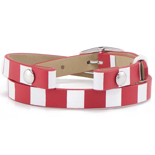 BR4054 Red White Stripe Double Genuine Leather Wrap Bracelet V2 copy