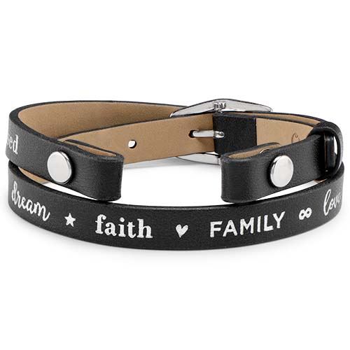BR4058 Black with Silver Metallic Faith Family Love Double Genuine Leather Wrap Bracelet V1 copy   Copy