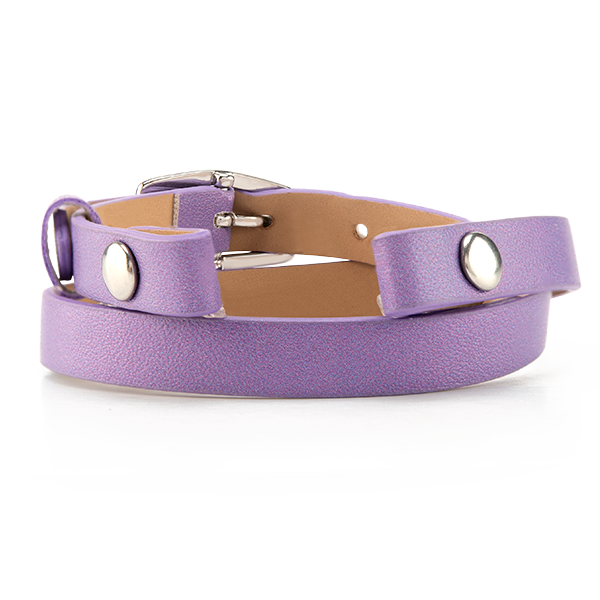 Metallic Lavender Double Genuine Leather Wrap Bracelet 7 1 2 8 1 2 Support Military Families SKU BR4081