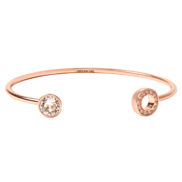 Rose Gold Stud Pav Adjustable Bangle with Swarovski Crystal SKU BR6015
