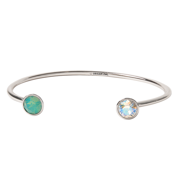 Silver Double Stud Bangle with Swarovski Crystals SKU BR6018