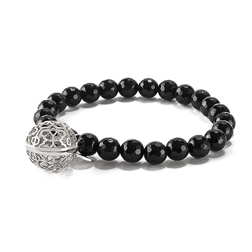 BR8001 Sweetness of Life Collection LH Rose Silver Black Onyx Bead Bracelet V1