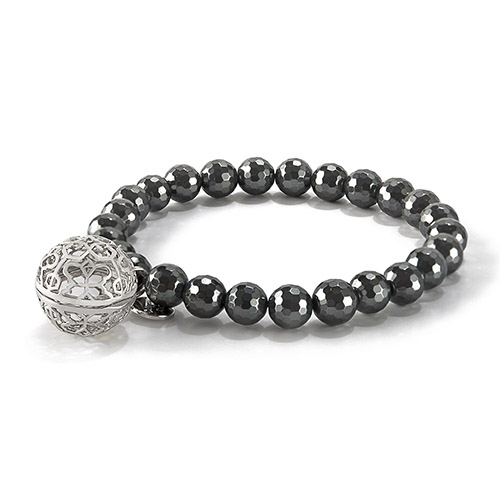 BR8002 Sweetness of Life Collection LH Rose Silver Hematite Bead Bracelet V1