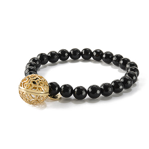 BR8101 Sweetness of Life Collection LH Rose Gold Black Onyx Bead Bracelet V1