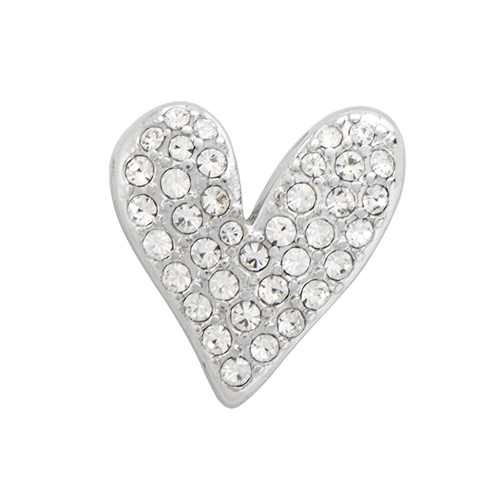 BS1008 Silver Pave Heart Slider with Crystals