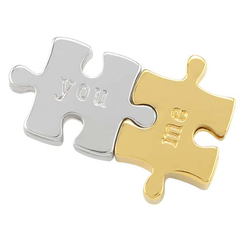 BS1020 Silver and Gold Puzzle Pieces You and Me Bracelet Sliders V2 1 copy