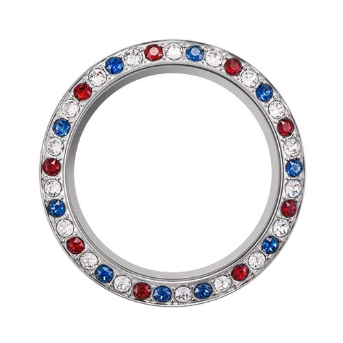 BZ4042 Large Silver Red White Blue Living Locket Face with Swarovski Crystals V1 copy