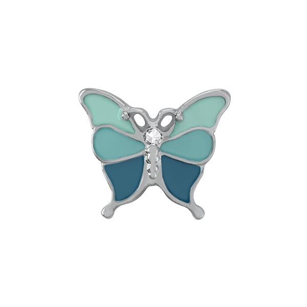 CH1073 Silver Aqua Ombre Butterfly Charm