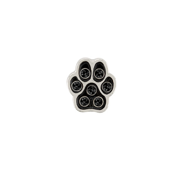 Silver Paw with Crystals Charm SKU CH1080