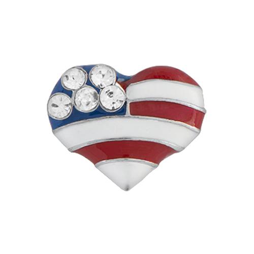CH1463 American Flag Heart Charm