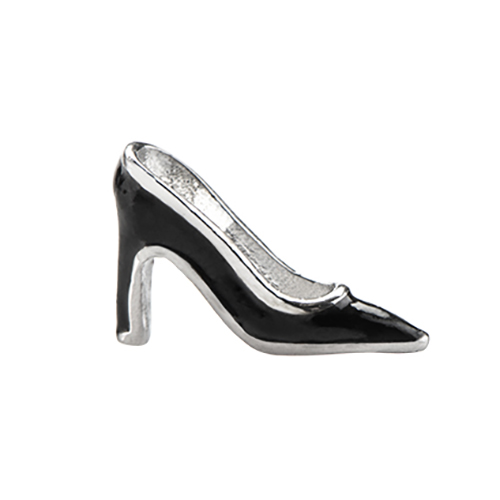 CH1687 Black Pointed Toe High Heel Charm