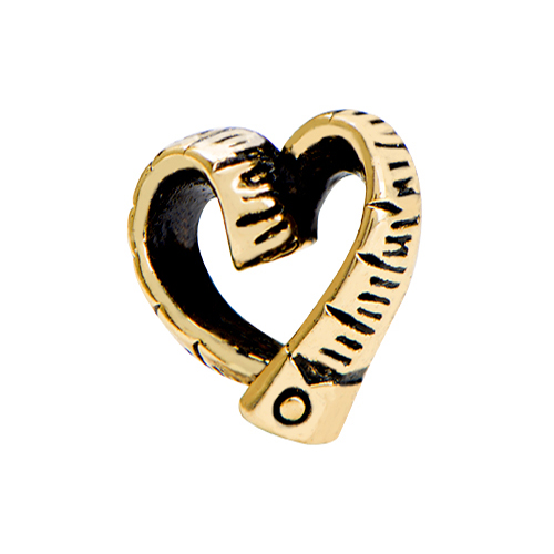 CH1694 Gold Heart Ruler Charm