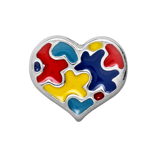 Autism Awareness Heart Charm SKU CH2006