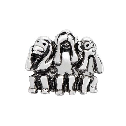 CH3147 Silver Wise Monkeys Charm copy