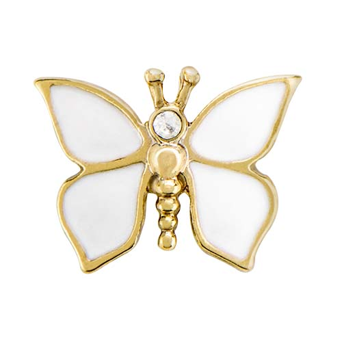 CH3149 Opalescent White and Gold Butterfly Charm copy