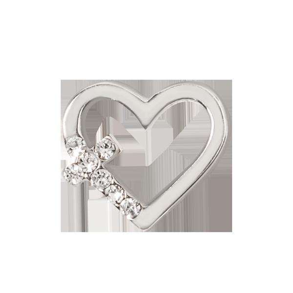 Silver Cross Heart Charm SKU CH3383