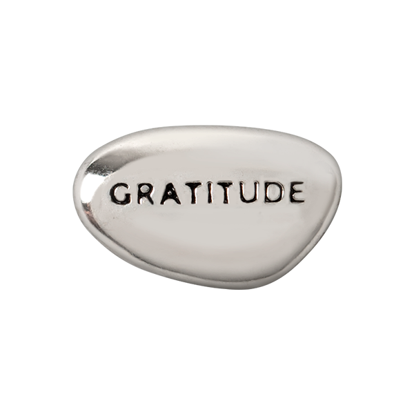 Silver Gratitude Intention Rock Charm SKU CH4054