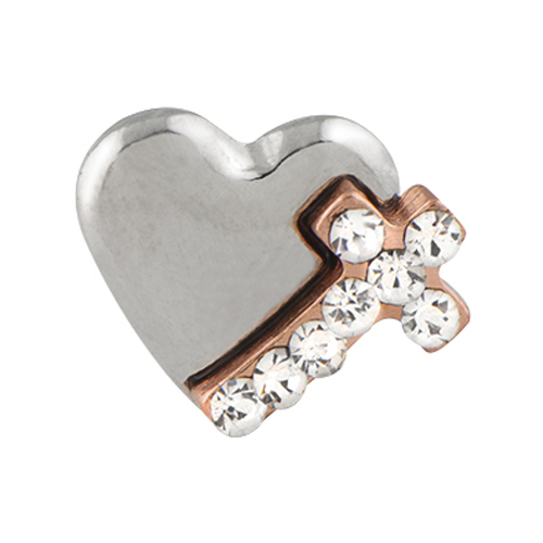 CH5030 Cross and Heart   mixed metal   pave Charm