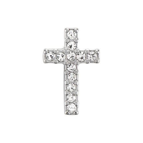 Crystal Silver Cross Charm SKU CH5031