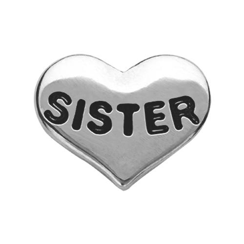 CH6022 Silver Sister Heart Charm