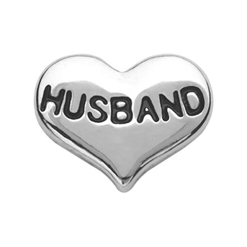 CH6027 Silver Husband Heart Charm