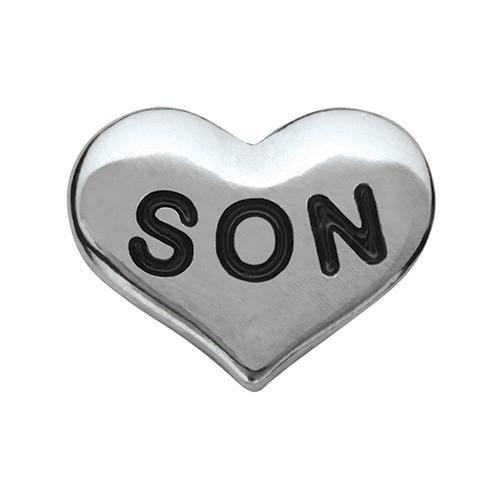 CH6029 Silver Son Heart Charm V2