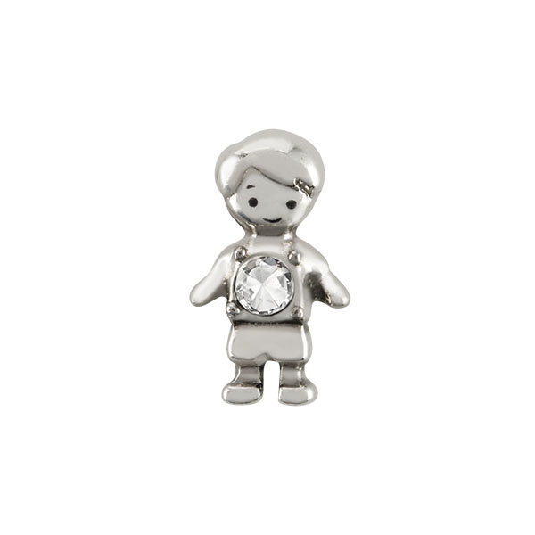 Silver Boy with Crystal Charm SKU CH6070
