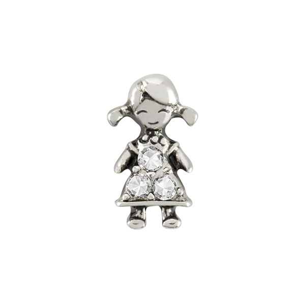 Silver Girl with Crystals Charm SKU CH6071