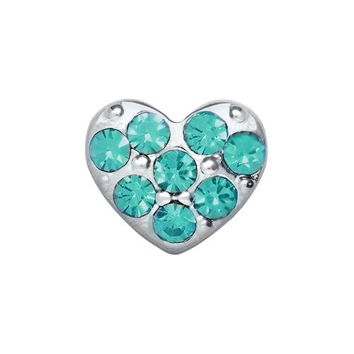 CH9015 Aqua Puffy Heart Charm V3