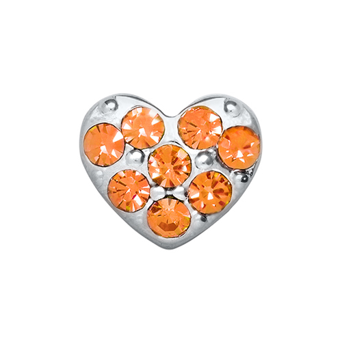 CH9016 Orange Puffy Heart Charm V3