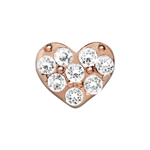CH9026 Rose Gold Heart with Clear Crystals Charm V3