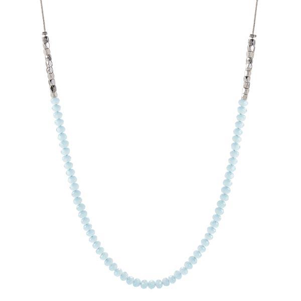 CN4016 Silver Aqua Beaded Chain