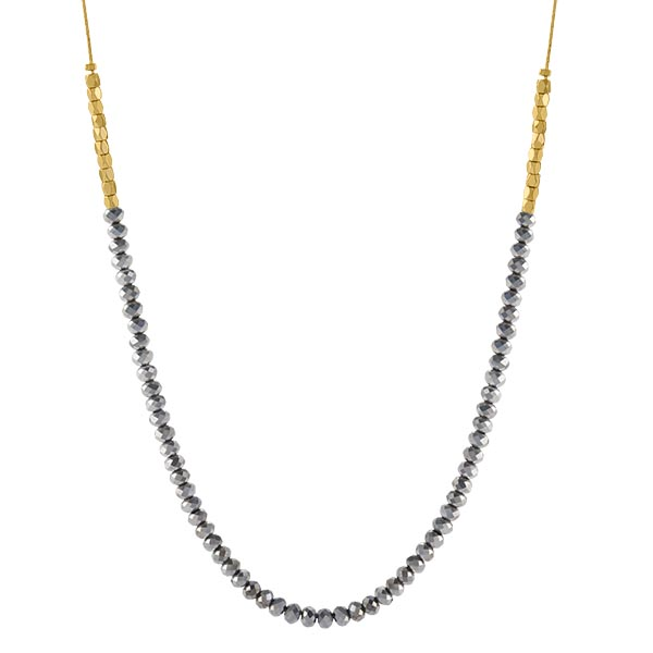 CN4017 Gold Jet Hematite Beaded Chain