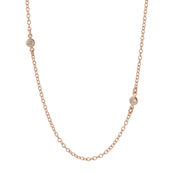 52 Rose Gold Crystal Station Chain SKU CN7071
