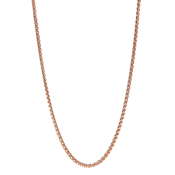 24 26 Rose Gold Modern Wheat Chain SKU CN7077