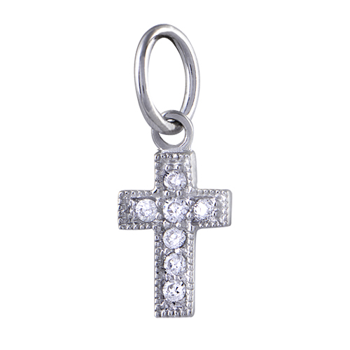 CR1036  HE STRENGTHENS ME  Silver Crystal Cross with CZ Memento