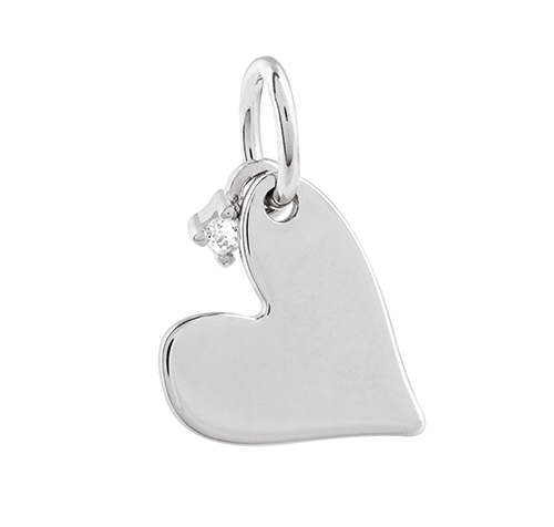 CR1103  FULL OF LOVE  Silver Heart with CZ Memento