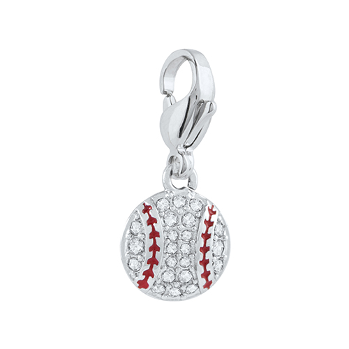 DG4049 Silver Pav  Baseball Dangle with Crystals by Swarovski