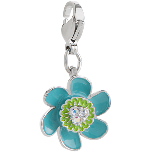 DG4075 Trolls Sparkling Aqua Flower Dangle with AB Crystals V2 copy