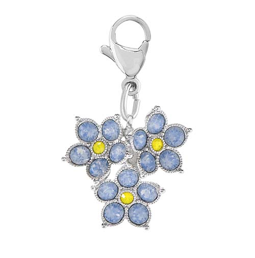 DG4086 Forget Me Not Flowers Dangle with Swarovski Crystals V1 copy