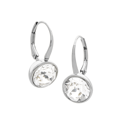 ER1015 Silver Leverback Earrings with Swarovski Crystals