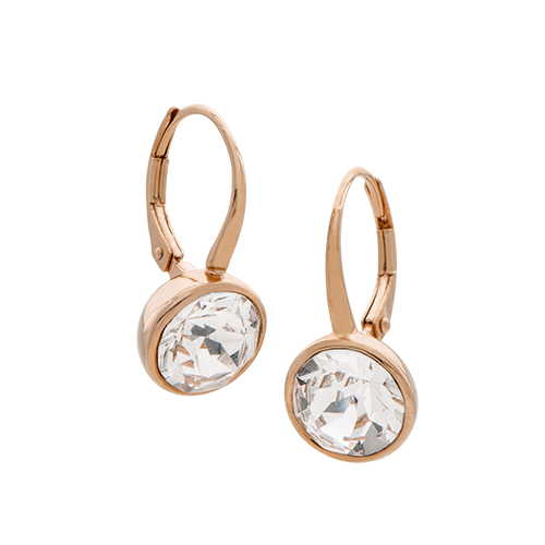 ER1017 Rose Gold Leverback Earrings with Swarovski Crystals