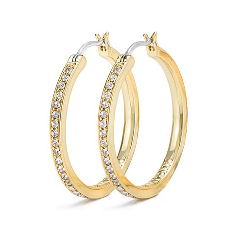 ER1019 Gold 30mm Hoop Earrings with Swarovski Crystals V1 copy