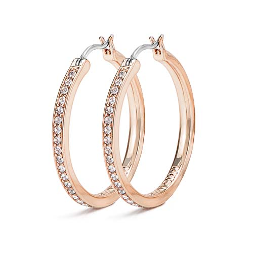 Rose Gold 30mm Hoop Earrings with Swarovski Crystals SKU ER1020